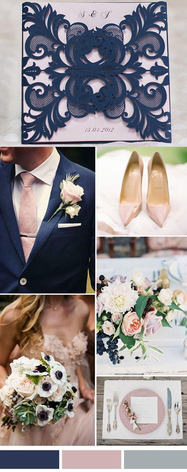 navy blue and blush pink laser cut wedding invitation kit