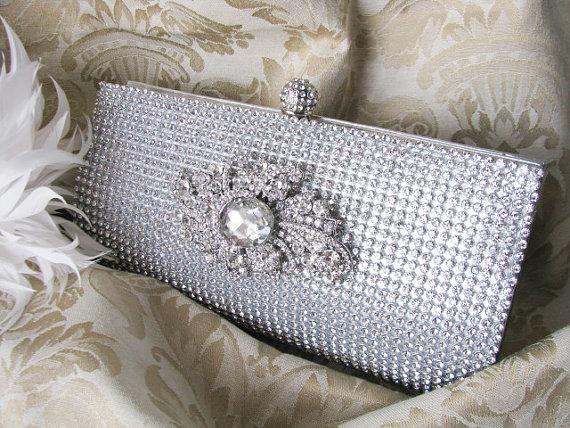 Hochzeit - Rich Silver Satin Fabric Wedding Bag Clutch Formal Evening Bag with Loads of Austrian Crystals