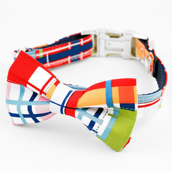 Свадьба - Bow Tie Dog Collar - Red Madras