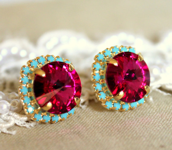 03a16062b Pink Turquoise Fuchsia Stud earrings Rhinestones Crystal studs - plated  gold post pink turquoise mint earrings real swarovski rhinestones .
