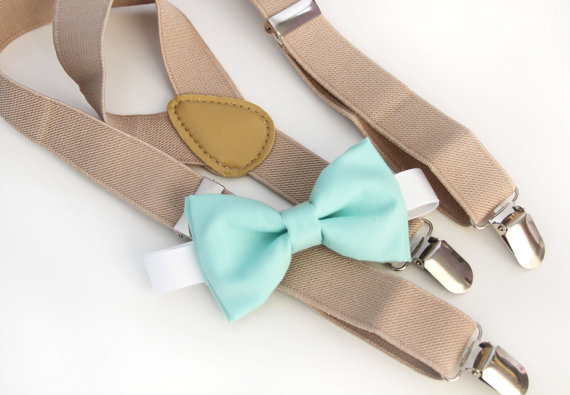 Wedding - Mint green bow-tie & Tan elastic suspender set, Adjustable neck strap and suspender, suspender and bow tie 6month - 5year