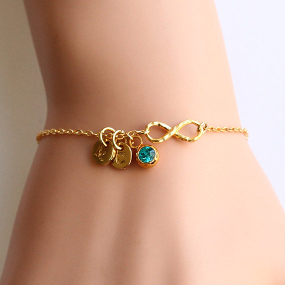 Gold Infinity Initial Bracelet Swarovski Birthstone Gift For Birthday Everyday Mom Sisters Mother S Day