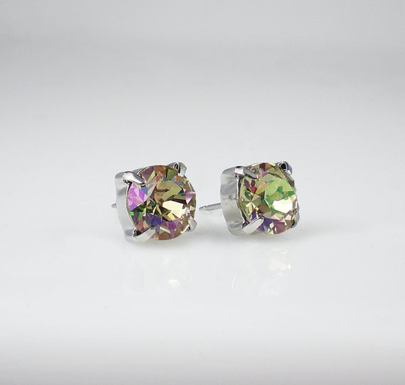 Mariage - 3 Pairs Luminous Green Rhinestone Stud Earrings Swarovski Yellow Green Lavender Pink Wedding Jewelry Flower Girl Bridesmaid MADE TO ORDER