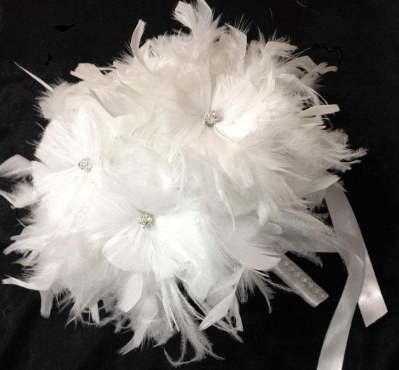 Hochzeit - Snow White Ostrich Feather Flowers BLING Swarovski Crystal Couture Bridal Bouquet - Feathers Bride Custom Wedding Bouquets