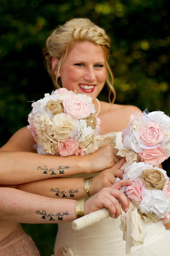 Свадьба - Shabby chic romantic rustic soft blush pink,white,ivory and burlap bridal wedding bouquet. Shabby chic fabric flowers.