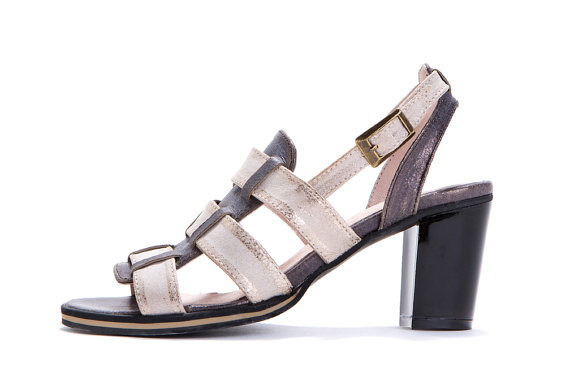 Mariage - Bday SALE 40% off T-strap sandals - Cream and grey heel sandals - boho strappy sandals - Handmade by ImeldaShoes