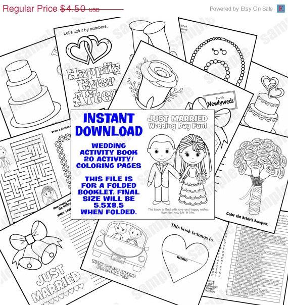 40 OFF SALE INSTANT Download 85x55 Printable Wedding Coloring Activity Booklet Favor Kids Pdf