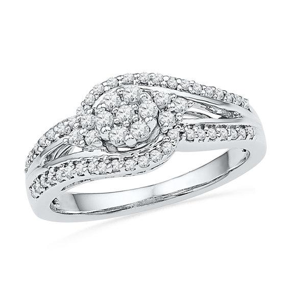 زفاف - 1/2 Carat Diamond Cluster Ring, White Gold or Sterling Silver Engagement Ring
