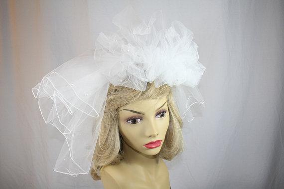 Свадьба - Vintage Bridal Veil Comb Headpiece Edward Berger Headpiece Rhinestones Faux Pearls Shoulder Length