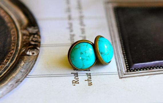 Mariage - Turquoise Stud Earrings Turquoise Australian Jewellery Seven Blueberries Bridesmaid Gift Idea