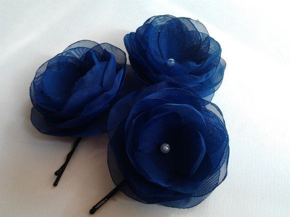 Navy Blue Hair Flowers Clips Shoe Boutonniere