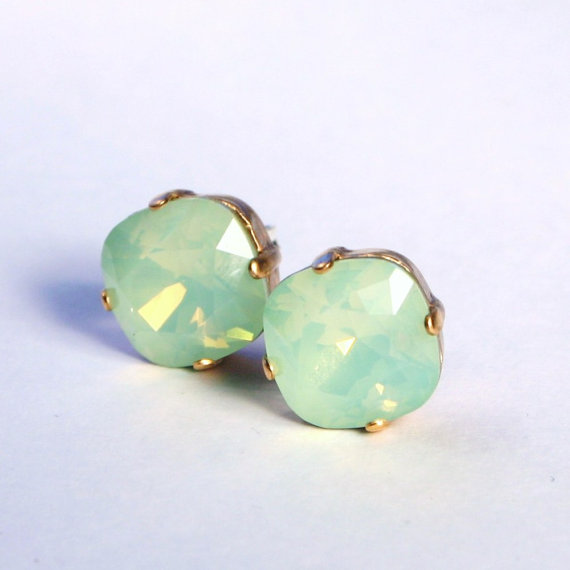 Hochzeit - Mint Green Opal Crystal Stud Earrings Classic Sparkling Seafoam Solitaire Swarovski 12mm or 10mm Sterling Post & Copper - Women's Jewelry