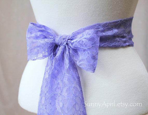 Свадьба - Lavender Lace Wedding Sash/ Handmade Accessory/ Free Shipping on Additional Items