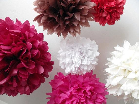 Mariage - Tissue paper pompom kit ... Flushed ... 6 Tissue Paper Pompom Flowers - DIY Kit