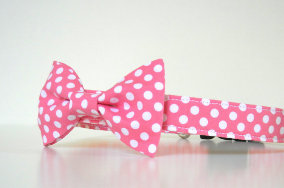 Свадьба - Pink Polka Dot Bow Tie Dog Collar Valentine's Collar Wedding Accessories Made to Order