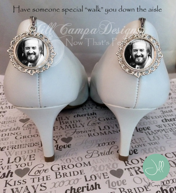 Свадьба - Wedding Shoe Charm - SET of 2 wedding shoe charms - Photo Shoe Charm - Bridal shoe Charm set, memorial shoe charms