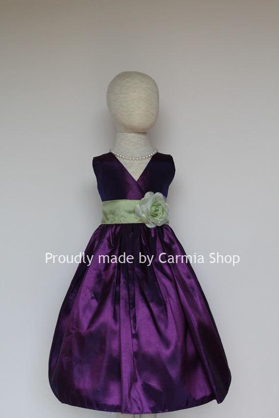 Свадьба - Clover Pistachio Flower Girl Dresses Lapis Purple (FSV01) Easter Wedding Communion Princess Party. Toddler Baby Infant Kids Teen Sale