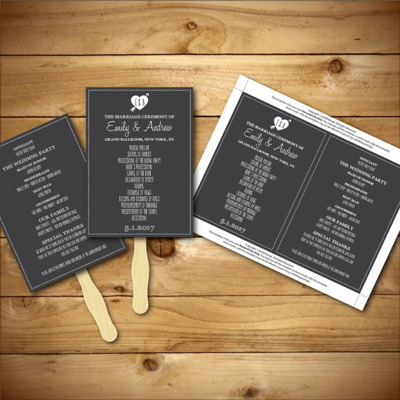 printable wedding program template chalk fan program. Black Bedroom Furniture Sets. Home Design Ideas