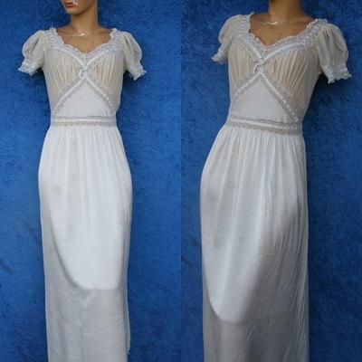 38e5be8f3d41 Vintage Fischer Silk Rayon Lace Chiffon Wedding Bridal Hollywood 40s 1940s  30s Mermaid Lingerie Nightgown