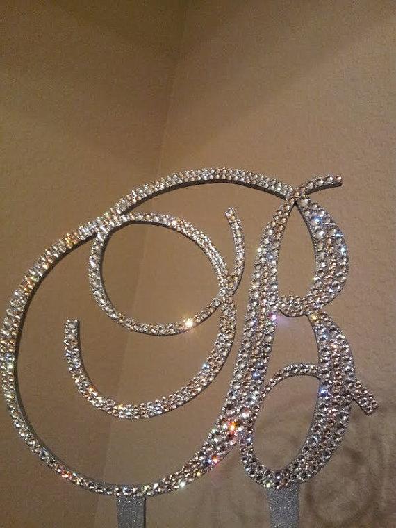 زفاف - Monogram Wedding Cake Topper Crystal Initial Any Letter A B C D E F G H I J K L M N O P Q R S T U V W X Y Z