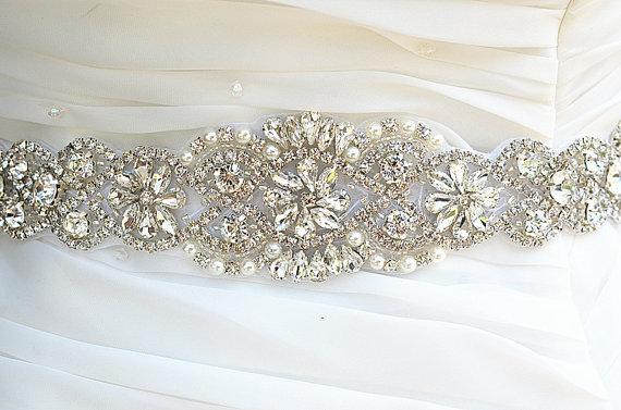 Wedding - SALE Wedding Belt, Bridal Belt, Sash Belt, Crystal Rhinestones sash belt, party sash