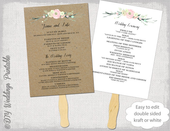 Wedding Program Fan Template Rustic Flowers DIY Kraft Or White Order Of Ceremony Printable Programs Editable Word Digital Download