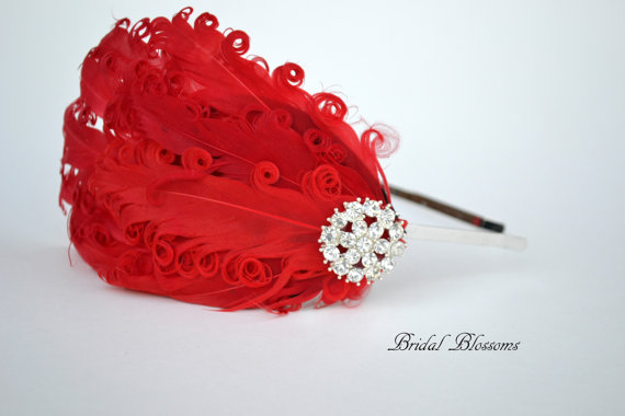 Свадьба - Stunning Red Feather Bridal Headband