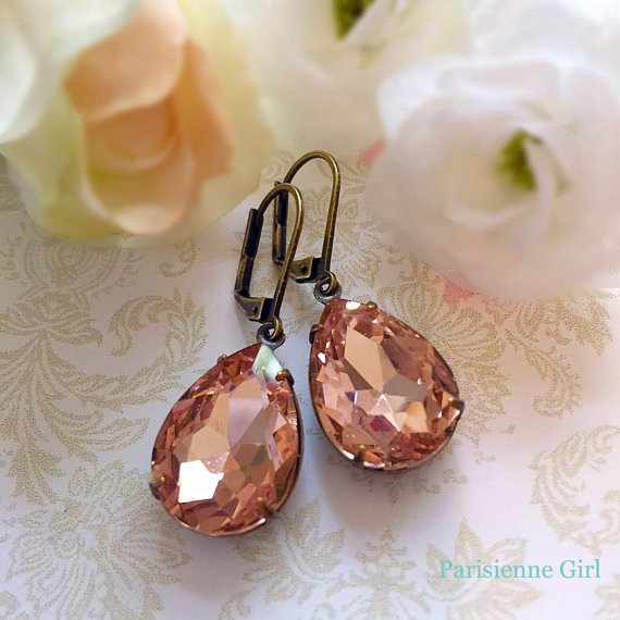 Peach Earrings - Summer Jewelry - Bridesmaid Gift - Victorian