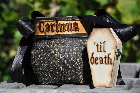 Mariage - Personalized flower girl basket & ring bearer coffin-Halloween-gothic-wedding-shabby/rustic black flower girl basket