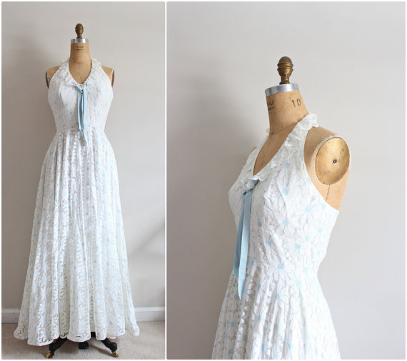 70s margarita boho wedding dress hippie white floral for White hippie wedding dress