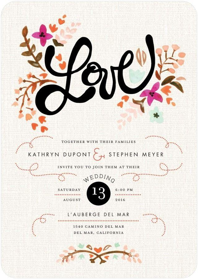 Hochzeit - Just Lovely - Signature White Wedding Invitations In Blaze Or Deep Purple