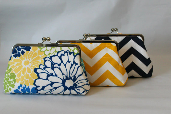 Mariage - Bridal Clutch - Wedding Clutch - Bridesmaids Clutch - Wedding Purse - Bridesmaid Gift - Navy Clutch Set -  Bridesmaids Clutch Set of 6