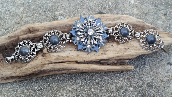 Mariage - vintage blue with rhinestone and filigree 3D tin metal flower linked bracelet prom bouquet