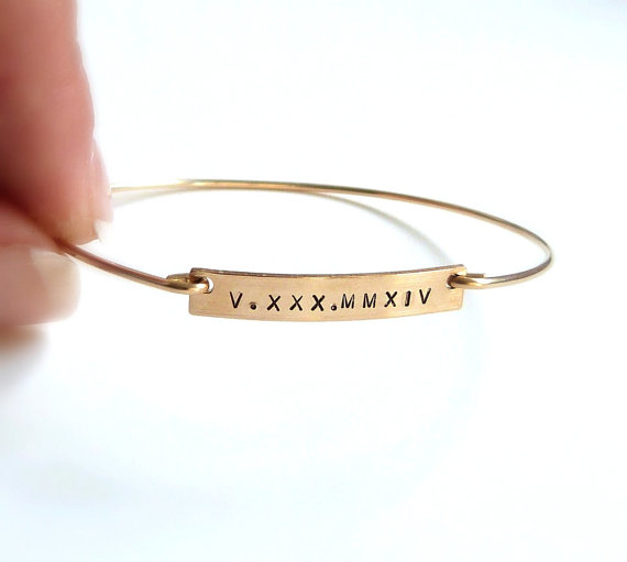 Mariage - Gold Bar Bangle Bracelet Roman Numeral Bracelet Bridal Jewelry Date Jewelry Bridesmaid Gift Personalized Bracelet