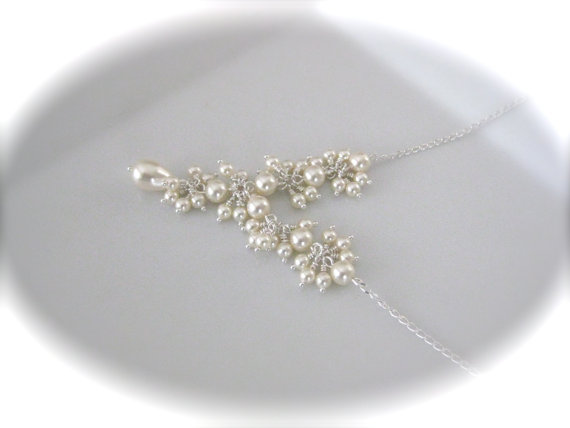 Mariage - Cluster necklace ivory pearl necklace wedding jewelry bridal necklace Swarovski pearls