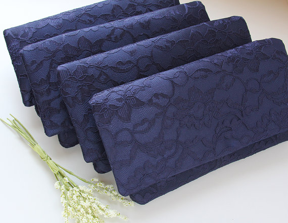 Mariage - Navy Lace Clutches, Set of 5, Blue Bridesmaid Clutches, Wedding Clutches, Vintage Inspired, Something Blue, Personalized Bridesmaid Gift