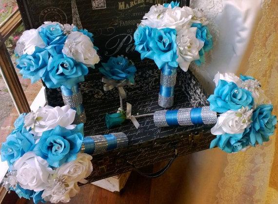 17 Piece Malibu Blue White Silver Wedding Flower Set, Bridal Bouquet ...