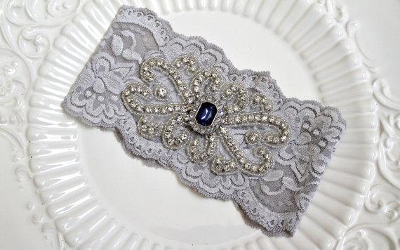 Свадьба - Bridal Silver/Grey stretch lace garter.  Crystal rhinestone beaded applique wedding garter.  Something Blue sapphire gem. SILVER PRINCESS