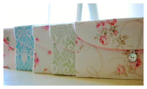 Mariage - Set of ten - 10, Bridesmaid Gift Set, Bridesmaid Clutch Set, Wedding Party Favor, Shabby Chic