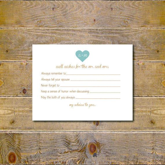 Guestbook Bridal Shower Activity Well Wishes Cards Wedding Advice Cards Bridal Shower