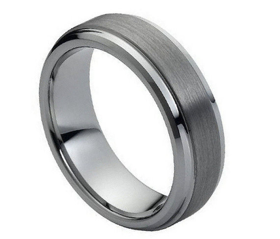 Hochzeit - 7MM Tungsten Wedding Band Comfort Fit Beveled and Stepped Edge Brushed Center Promise Engagement Ring for Men Women SNUJDTZYP