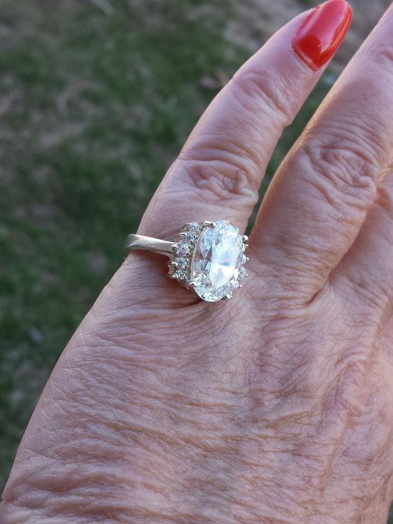 Wedding - vintage 6ct exceptional cz engagement sterling designer signed ring