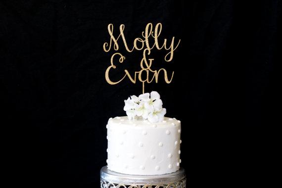 Custom Name Amp Name Wedding Cake Topper Gold 2353616