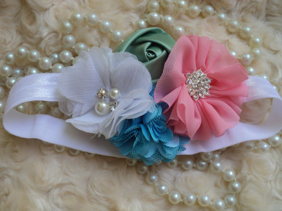 Hochzeit - Baby Infant Toddler Girl vintage charm flower girl white headband with a bouquet of white, peach, green and turquoise embellished flowers