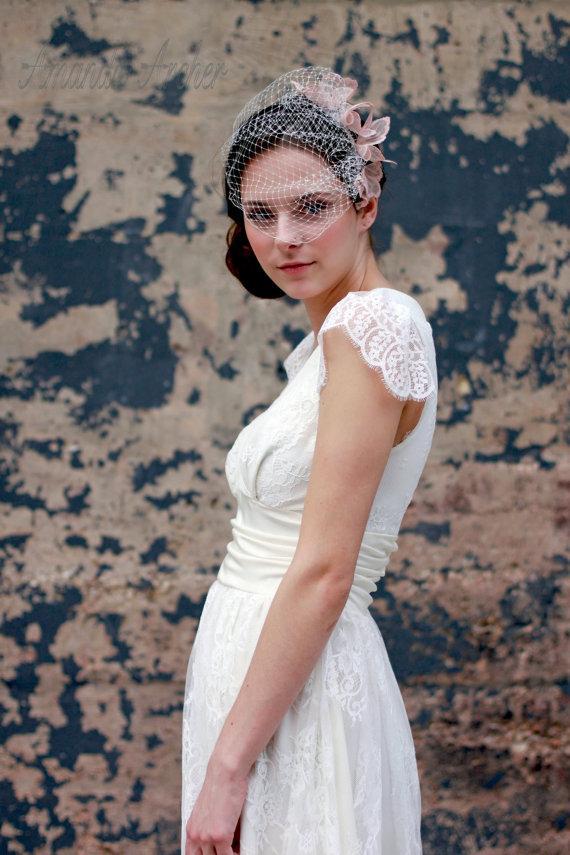 Wedding - Blush Birdcage Veil