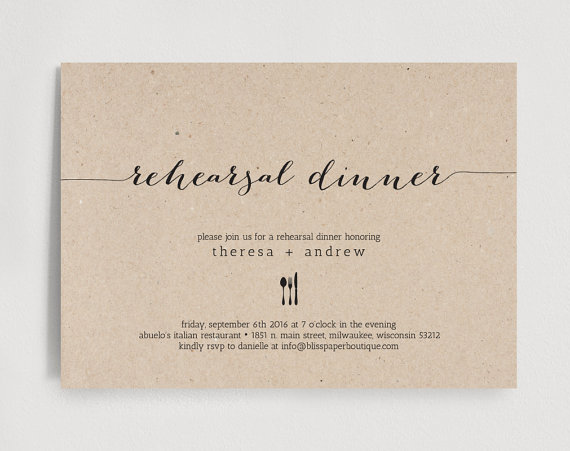 Rehearsal Dinner Invitation Wedding Rehearsal Editable Template