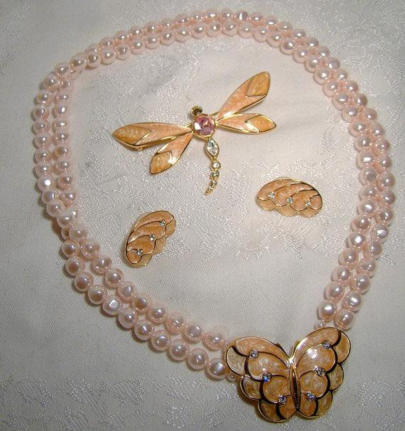 Wedding - Avon Kenneth Lane Butterfly Pink Pearls Enamel Papillon Necklace Earrings Dragonfly Brooch Set c1980s