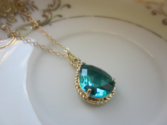 Hochzeit - Sea Green Necklace Gold Teardrop - 14k Gold Filled Chain - Bridesmaid Necklace - Bridesmaid Jewelry - Bridal Wedding