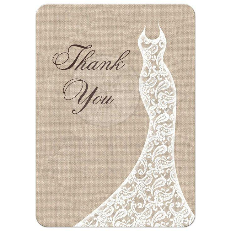 Mariage - Bridal Shower Thank You Card - Beautiful Burlap