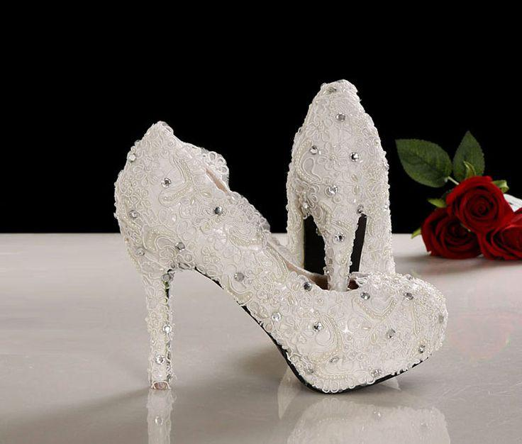 Wedding - Crystal Shoes Wedding Shoes White Pearl Shoes Rhinestone Shoes - Heelssalon.com